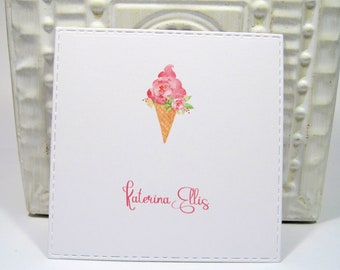 Pink Ice Cream Personalized Enclosure Cards - Gift Card - Calling Cards - Set of 24 - Girl - Kids - Flat - One sided - Embossed edge