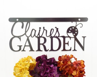 Custom Garden Sign   Gift For Her   Mothers Day Gift   Mother's Day Gift   Name Sign   Metal Sign   Wall Art   Metal   Ladybug