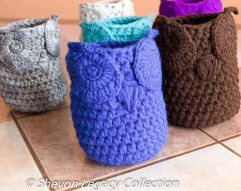 Mini Owl Basket Crocheted Bin Pen Holder Home Organizer Custom Colors