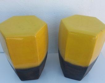 Vintage Vibrant Yellow Color Ceramic Garden Stool A- Pair .