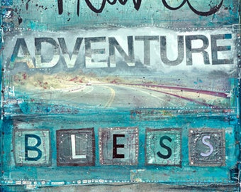 Live Travel Adventure Bless - large paper print - inspirational travel artwork, word art typography poster, teal, turquoise