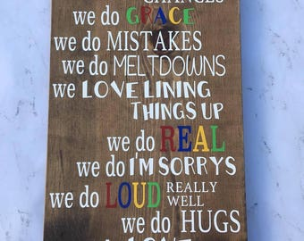 Funny Family Rules Sign - Wood sign - sign - farmhouse - cottage chic - rustic - home decor - decor