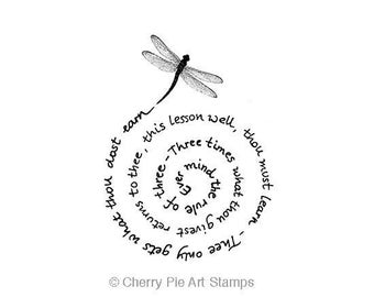 The Witches Rule of Three, Dragonfly- Wiccan rede - CLiNG RuBBer STaMP Q469