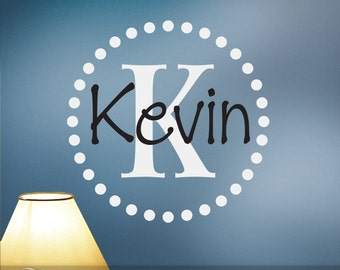 Monogram Wall Decal, Personalized Initial and Name with Circle of Dots (0179b2v)