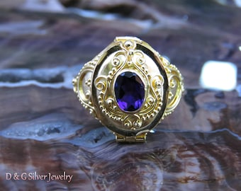 18kt Gold on 925 Silver Poison Ring with Ameythyst GPR-178-DG