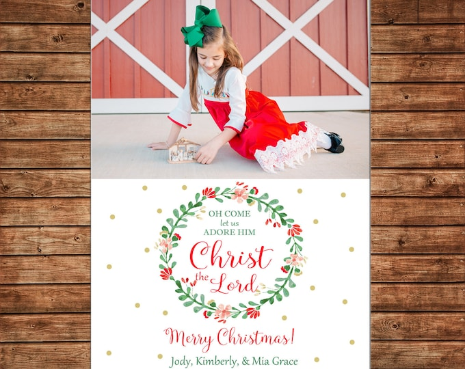 Christmas Holiday Photo Card Watercolor Floral Wreath  - Can Personalize - Printable File or Printed Cards