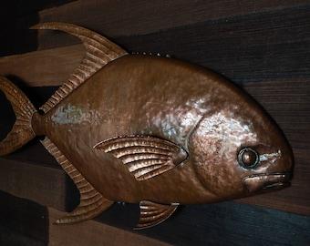 copper fish sculpture permit fish