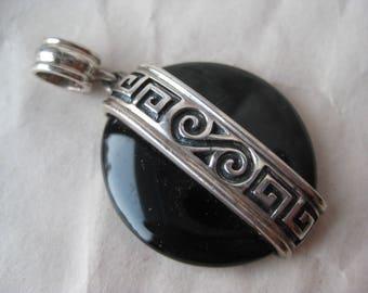 Onyx Round Filigree Sterling Pendant Stone Silver Vintage 925 Black