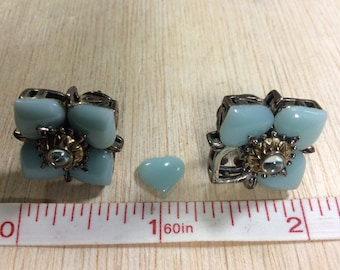 """925 Sterling Silver 18K Gold Accent Earrings """"Barbara Bixby"""" Hearts Needs Cleaned And Repaired Used"""