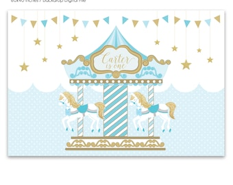 DIGITAL FILE Backdrop Poster: Carousel Birthday Printable Banner Backdrop 60x40 inches, Pink Blue Gold Carousel Merry Go Round Birthday PDF