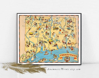 CONNECTICUT MAP PRINT - vintage pictorial map - wall decor gift idea for many occasions - illustrated by Ruth Taylor White - home decor art