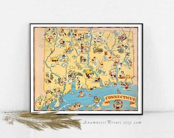 Idée de cadeau de déco CONNECTICUT impression carte - plan pictural vintage - mur pour de nombreuses occasions - illustré par Ruth Taylor White - art déco