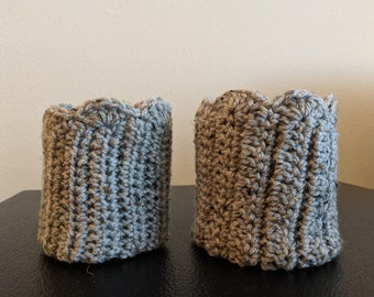 Crocheted Boot Cuffs, Gray, Boot Socks, Clothing, Women's Clothing