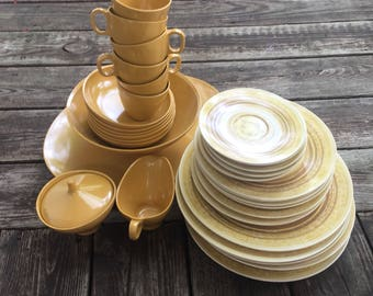 Mustard Yellow Melmac Boonton Dinnerware Service for Six