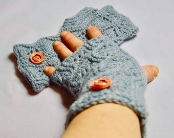 Fingerless gloves, arm warmers, gray, one size, creating hand made in France, knitting, gift idea, Unique, original, HeyLaineInFrance Greymoon,