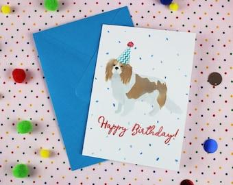 King Charles card / Dog Birthday card / Dog Greeting card / King Charles Birthday card / Happy Birthday Card / Dog illustration / Cute card.