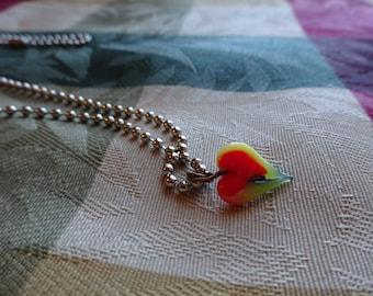 Yellow Red and Black Glass Heart Necklace (N39)