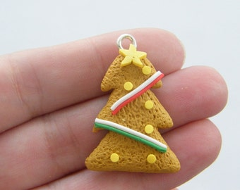 2 Gingerbread iced Christmas tree cookie pendants CT142
