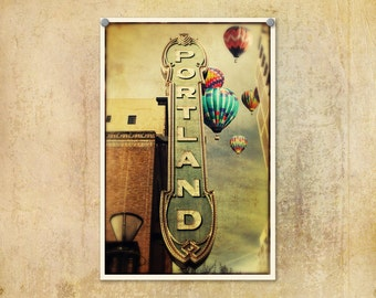 Portland Oregon | Arlene Schnitzer Sign | Hot Air Balloons | Theater Marquis | Iconic Portland Oregon | Whimsical Photograph
