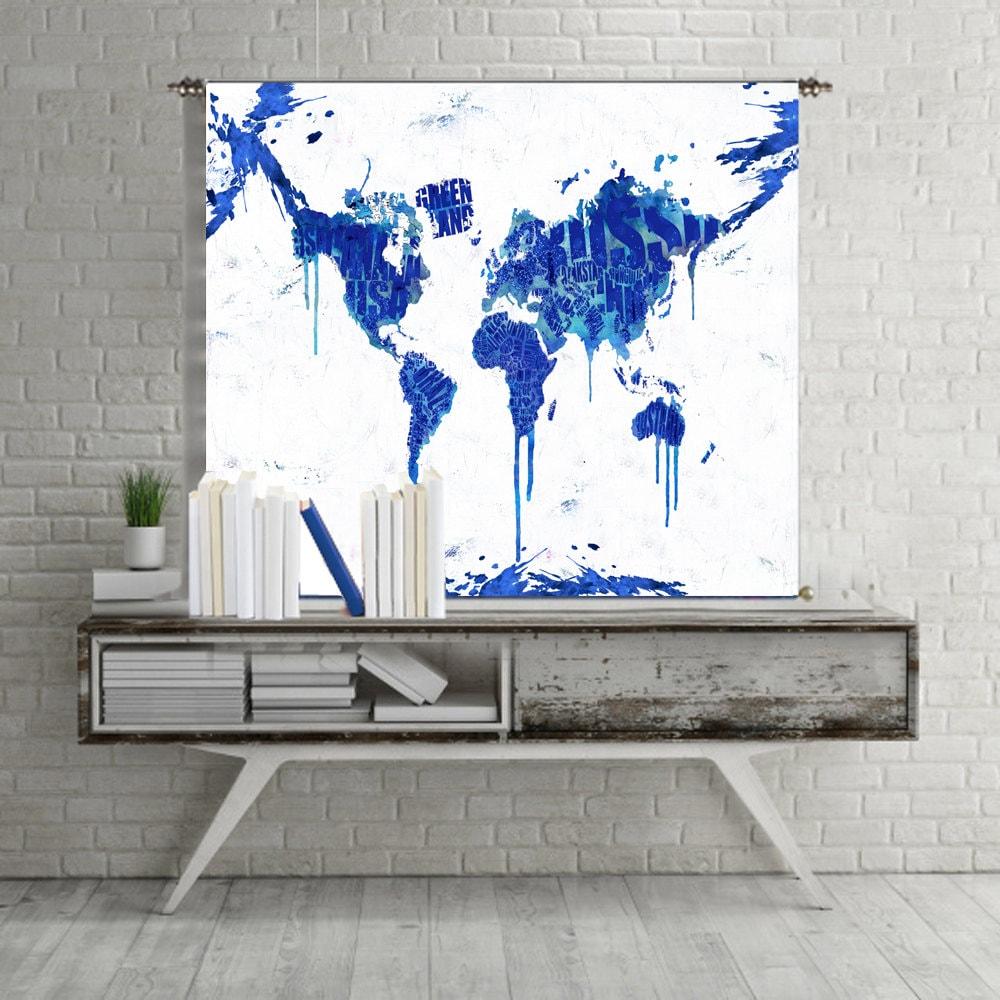 Mapa de mapa mundo tapiz colgante de pared mapa lienzo mundo