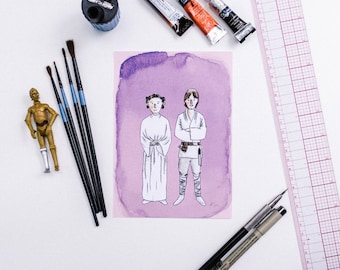 Siblings Luke & Leia Star Wars Watercolor Print