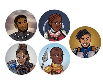 Black Panther T'Challa Shuri Nakia Okoye Killmonger Wakanda Superhero 1 inch Button