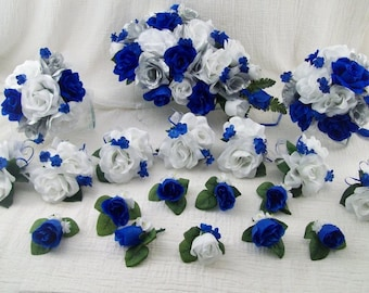 Silk Wedding Flowers Cascade Bridal Bouquets Royal Blue ,Silver and White Roses 18 pieces made to order Brides on a Budget WeDDiNG BouQuets