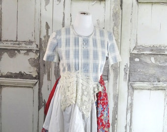 Blue White Floral Dress Romantic Clothing Eco Fashion Lagenlook Dress Upcycled Clothing