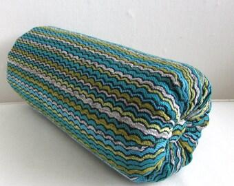 CHENILLE Bolster pillow decorative throw 6x14 6x16 6x18 6x20 6x22 green/blues