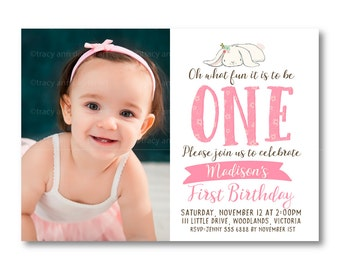 Photo First  Birthday Invitation,  Bunny Photo Invitation, Oh what fins it is to be one, 1st Birthday,  Invite, Digital, 1564