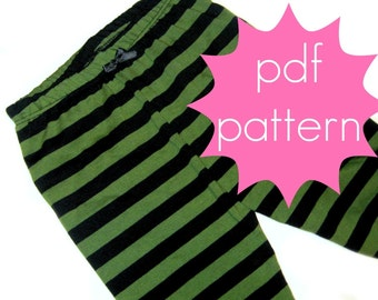 Basic Knit Leggings PDF Sewing Pattern - full or capri length options - nb-5t or 6-14, and doll