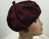 Woman's Beret Hand Stitched Organic Cotton Reversible Washable Knit Light Weight Berry Dark Red
