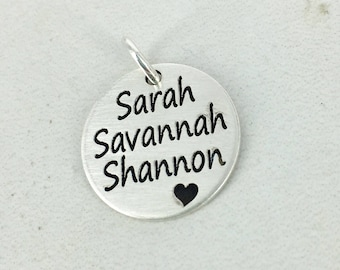 "Personalized 3 name 5/8"" charm with stylized heart • Name Charm • Personalized name Charm • Gold-filled, Sterling silver, or Rose GF"