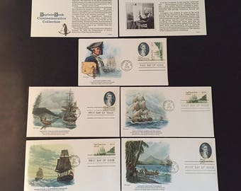 Vintage Captain Cook Commemorative Stamp Collection, SET of 5 FDC's Fleetwood Cachet, Scott #1732-1733, Charles Lundgren, Hawaiian Islands
