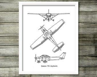 Cessna 172 Blueprint, Cessna 172, Instant Download, Blueprints, Aircraft Blueprint, Cessna Skyhawk, Cessna Gift, Aviation Decor, 8x10