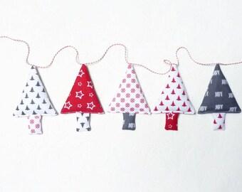 Christmas garland christmas trees christmas bunting christmas tree banner stocking stuffer christmas tree garland christmas baubles bunting