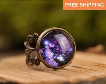 Galaxy bague, bague en filigrane, bague réglable, bague, anneau laiton antique, espace bague, bague de l'univers, anneau de nébuleuse, bijoux cadeau