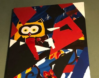 16x20 abstract Owl canvas painting