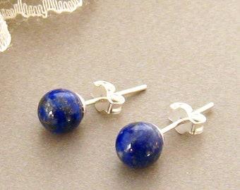 Real Lapis Stud Earrings, Blue Gemstone Studs, Blue Lapis Earrings, Sterling Silver Lapis Lazuli Gemstone Earrings