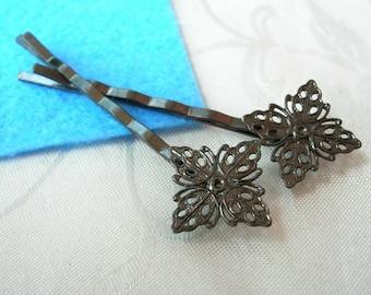 15 Pcs Gunmetal  Hair Clip w/ Filigree - Nickel Free