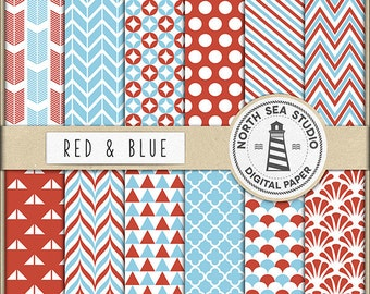 Red And Blue Digital Paper Pack | Scrapbook Paper | Printable Backgrounds | 12 JPG, 300dpi Files | BUY5FOR8