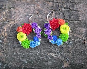 Rainbow flower jewelry Chakra jewelry Rainbow earrings Colorful jewelry Round earrings Hoop earrings Polymer clay earrings Bright jewelry