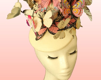 Pink Ivory Butterflies Hat Butterfly Fascinator Haute Couture Headpiece Race Ascot Butterfly Hat Wedding Fascinator Percher Hat