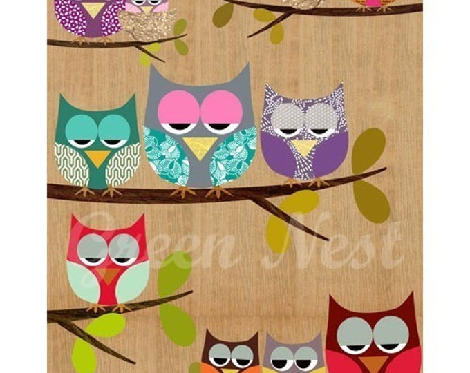 Cute owls on a branch collage poster print