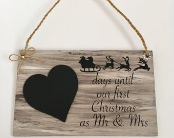 First Christmas as Mr & Mrs rustic countdown plaque