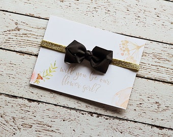 Will you be my Flower Girl, Will you Help me Tie The Knot - Black Gold Flower Girl Gift - Flower Girl Proposal - Flower Girl Headband Favors