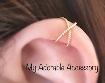 Twisted Wire Cross Upper Cartilage Ear Cuff
