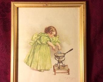 "Maud Humphrey Bogart, professionally framed print, ""The Cook"""
