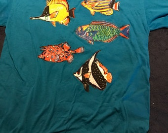 Vintage Tshirt. Fish Shirt. Vintage Puffy Paint Fish Tshirt.