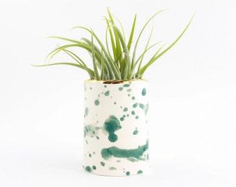 Watercolor Ceramic Bud Vase, Mini Planter, Splatter Pottery, Desk Planter, Gift for Home, Air Plant Holder, Ceramic Succulent Planter